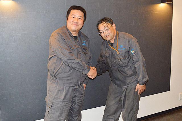 画像左 柳金属産業株式会社 代表取締役 柳 一根 様 画像右 泉 雄三 様